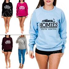 New Ladies Womens Homies Print Fleece Sweatshirt Top Jumper Size 8 10 12 14 S M