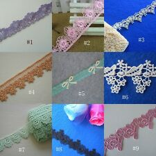 1 1/2'' Wide Lovely Floral Rayon Venise Lace Purple, Pink Baby blue, Ivory Amber