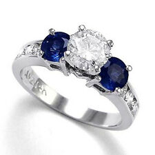 1.28CT 14k White Gold Sapphire Diamond Engagement Ring 4 to 9.5#R786