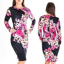 New Womens Ladies Floral print Long Sleeve Party Maxi Midi Dress Size S M L XL 8