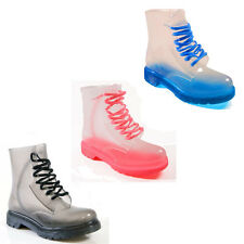 WOMENS LADIES FESTIVAL CLEAR JELLY ANKLE DOC LACE UP PARTY SHOES BOOTS SIZE 3-8