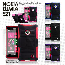 Hybrid Rugged Heavy Duty Dual Layer Case for Nokia Lumia 521 MetroPCS TMobile