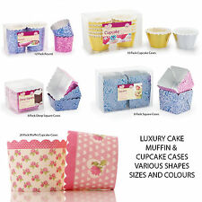 LARGE CUPCAKE BAKING MUFFIN LUXURY CAKE CASES FLORAL HEART PRINT METALLIC PINK