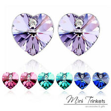 Austrian Crystal Gem Rhinestone Heart Stud Earrings Womens Gift Present