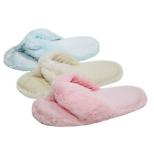 Ladies Womens Flip Flop Slippers Comfy Fluffy Faux Fur Perfect Gift for Her