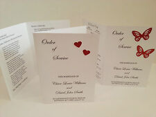 Personalised Wedding Order of Service x10 many colours Glitter Hearts Butterfly