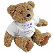 Personalised Teddy Bear for Bridesmaids Flower Girls Page Boys Ring Bearer Usher