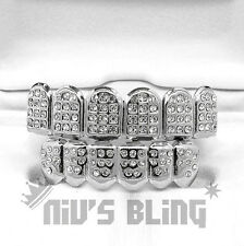 Silver Teeth GRILLZ Top Bottom ICED OUT CZ Tooth Caps Grill HipHop Bling 2STB