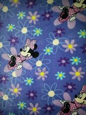 Minnie Mouse Purple Flowers Personalized Fleece Baby Blanket