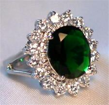 Engagement Ring Emerald Green Crystal Cubic Zirconia White Gold Plated