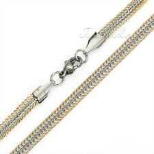 4mm Braided Snake Bone Mens Chain Silver Yellow Gold Stainless Steel Necklace