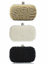 New Women Ladies Pearls Clutch Evening Bag Cocktail Party Handbag Purse Totes