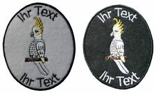 cockatoo parrot patch with your text 8cm embroidered logo (138)