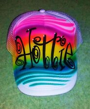 Airbrush Trucker Hat, Airbrush Trucker Hat Tattoo Swirls And Name, Trucker Hat