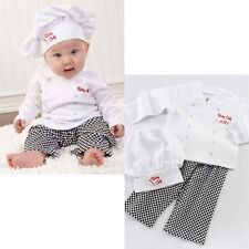 Baby Toddler Christmas Boy Girl Party Chef Cook Costume Top+Pants+Hat Size 0 1 2