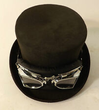 New Steam Punk Victorian Style Wool Felt Brown Top Hat With Goggles Clear Black