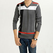 Mens Geometric Patterns Slim Stylish Fit V-neck Knitted Sweater Pullover M-XXL