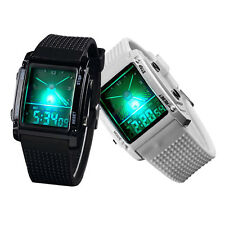 Dual Time Digital LCD Date Day Alarm Stopwatch LED Silicone Men Sport Cool Watch
