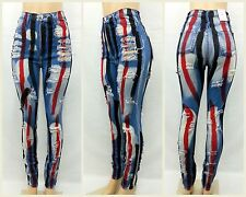 High Waist/Rise Red And Black Striped Destroyed Patched Jean Pants 4045