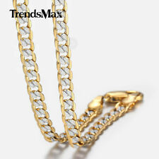 Mens Womens Chain Hammered Curb Cuban Silver Yellow Rose Gold Filled GF Necklace
