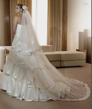 2T Ivory/White Simple edge or Satin edge cathedral bridal wedding veil with comb