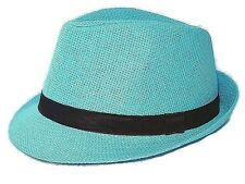 Fedora Hat Straw Black Band Summer Beach Hat in Pink White Blue Beige