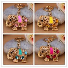 Cute Elephant Hollow Crystal Keychain key ring Purse Bag Key Chain Gift