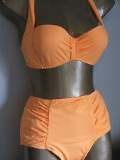 ASOS ROCKABILLY RETRO1950s HIGH WAISTED UNDERWIRED PADDED ORANGE BIKINI-BNWT