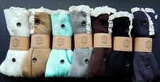 USA SELLER Button Down  Leg Warmers 2014 DOWN  Lace TRIM Boot socks knee high