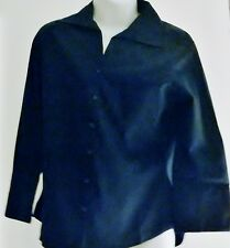 Edwards Womens / Jr. Navy Button Down Blouse Fitted Back
