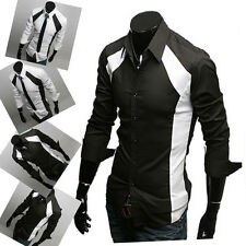 Charm Splicing Patched Fitted Men's Long Sleeve Button Down Dress Casual Shirts
