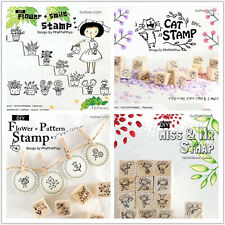 New Korean 4 Model Cute mini DIY cartoon pattern Wooden Rubber Stamp