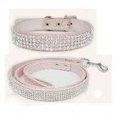 Brand New Bling Rhinestone Crystal PU Leather Pet Cat Dog Collar + Leash Set