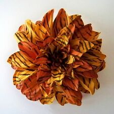 ANIMAL SKIN THEMED LARGE DAHLIA ARTIFICIAL FLOWER HAIR CLIP/PIN BROOCH