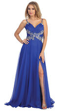 Spaghetti Strap Rouched Bust Rhinestones Waist Long Floor Length Prom Plus Sizes