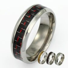 Fashion 8mm Check Plaids Resin Silver Tone Stainless Steel Mens Boys Band Ring