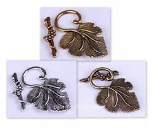 10sets Retro Style Silver/Golden Grape Leaf Toggle Clasp for Making Jewelry
