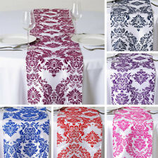 "6 pcs FLOCKING TABLE RUNNERS 12x108"" Wedding Party Catering Linens Supplies SALE"