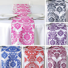 "10 pcs FLOCKING TABLE RUNNERS 12x108"" Wedding Party Catering Linens Supplies"