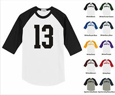 Number #13 Thirteen Sports Raglan Baseball Jersey T-shirt Front Print