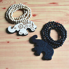Good Quality HipHop Wooden Beads ELEPHANT Pendant CARVED Chain Wood Necklace 36""