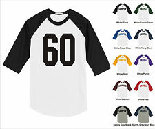 Number #60 Sixty Sports Raglan Baseball Jersey T-shirt Front Print