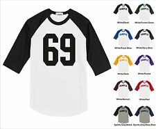 Number #69 Sixty Nine Sports Raglan Baseball Jersey T-shirt Front Print