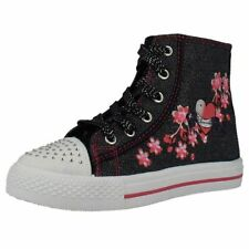 Girls Air tech Denim Textile Lace Up And Zip Hi Top Baseball Style Boots-Rollar