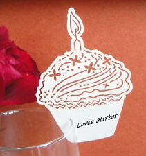 NEW Cake Shape Wedding Name Place cards on Wine glass for Birthday Party,Wedding
