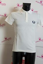 Fred Perry polo maglietta manica corta uomo light and stretch bianco logo grande