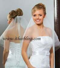 "Elbow Length Veil 2 Layer 25"" Illusions Bridal Veils Circular Cut With Raw Edge"