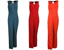 COLLECTION LONDON Womens Ladies Red Teal Orange Belted Jumpsuit Playsuit 8 - 18