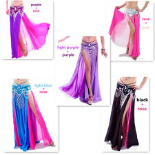 Sexy Belly Dance Costume Dance Double Color Chiffon Skirt 13colors