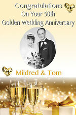 LARGE 50th GOLDEN WEDDING  ANNIVERSARY BESPOKE POSTER BANNER PERSONALISED